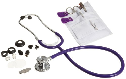 ADC Nurse Medical Accessory Combo Kit, Includes Pocket Pal II Kit with Lister Bandage Scissors, 3-Color Pen, Adlite Plus Penlight, and Adscope 647 Sprague-1 Single-Tube Stethoscope, Purple ()