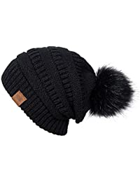 Women Winter Pom Pom Beanie Hat with Warm Fleece Lined,...