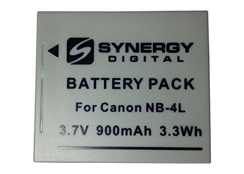 Synergy Digital SDNB4L Canon Power Shot ELPH 330 HS Digital Camera Battery Lithium-Ion (900 mAh) Replacement for Canon NB-4L Battery