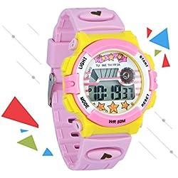 Zeiger New Fashion Children Girls Kids Alarm Digital Sport Watch, Age 7 - 10 Resin Band (Colourful-Pink)