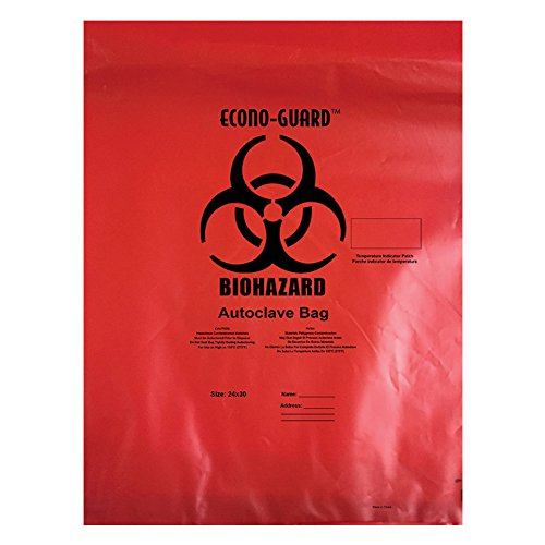 Action Health ACR31X38 Econo-Guard Polypropylene Biohazard Autoclave Bag, 31W x 38H, 2 mil, Indicator, Red, Biohazard Print, Case 200, Shape,, (Pack of 200) by Action Health