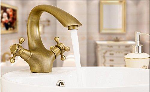 «Robinets antiques»/ robinets laiton/ mélangeur de lavabo continental/Robinet chaud et froid/Deux poignées de robinet monotrou-