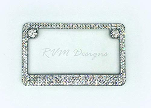 Bling Motorcycle License Plate Frame made with Swarovski Crystals - 4 Row - Motorcycle Jewelry -  RVMdesigns