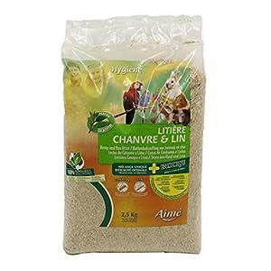 Aime Litière Chanvre Lin pour Petits Animaux, Rongeurs, Lapins, Sac de 2.5kg Jusqu'à 2 mois d'utilisation, Ultra…