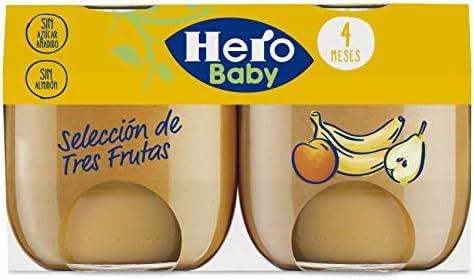 Hero Baby Natur Tarritos Puré Selección Tres Frutas para Bebés a partir de 4 meses Pack de 6 unidades de 2 x 120 g: Amazon.es: Alimentación y bebidas