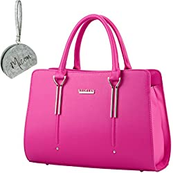 Micom 2016 Summer Womens Pure Color Patent Leather Boutique Tote Bags Top Handle Handbag with Micom Zipper Pouch