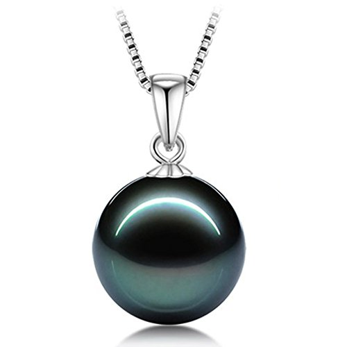 L'vow 12mm White or Black Pearl Pendant Necklace Set Sterling Silver Chain(Black)