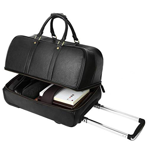 Leathario Men's Leather Luggage Wheeled Duffle, Leather Travel Bag (Black)