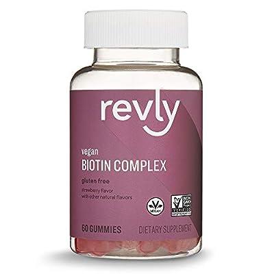 Amazon Brand – Revly Biotin Complex, 60 Gummies, 1 Month Supply, Biotin 2500mcg with Vitamins C & E, Vegan, Non-GMO
