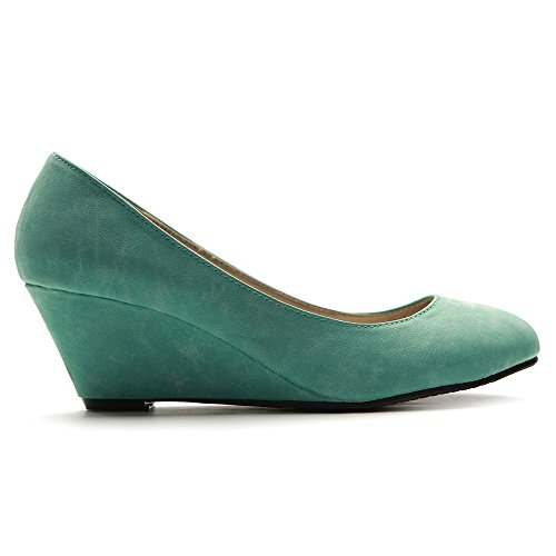 Women's Medium Multi Wedge Heel High Mint Color Ollio Platform Pump vd6wBB