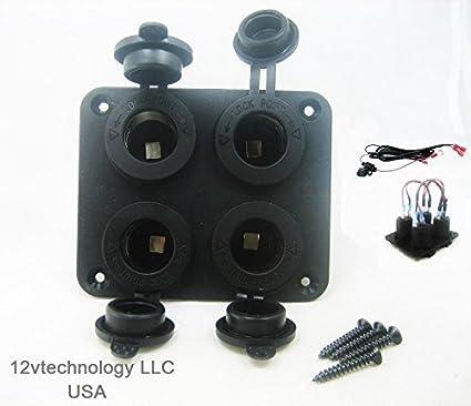 Amazon com: Rugged Quad Four 12V Accessory Plug Socket Lighter Power