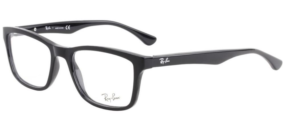 Ray-Ban Men's Rx5279 Square Eyeglasses,Shiny Black,53 mm by Ray-Ban