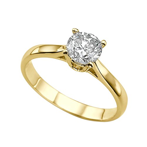 - Diamond Mine 6.50MM D-F VS Moissanite Engagement Ring (0.86 ct Moissanite Weight, 1.00 ct Dew) Round Shape 14K Yellow Gold