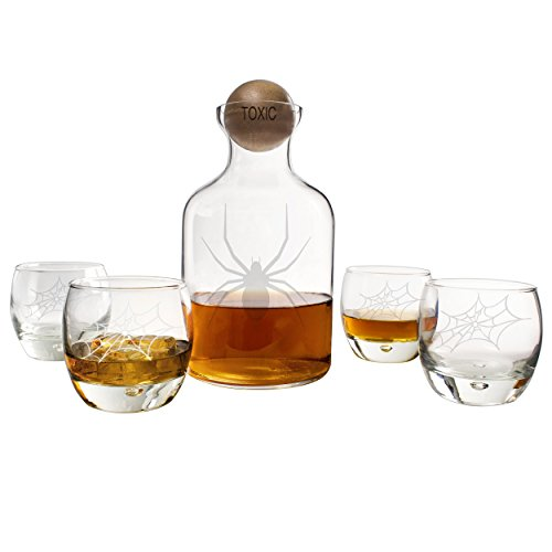 Cathy's Concepts Toxic Spider Glass Decanter with Wood Stopper Set, Clear (56 Halloween Spider)