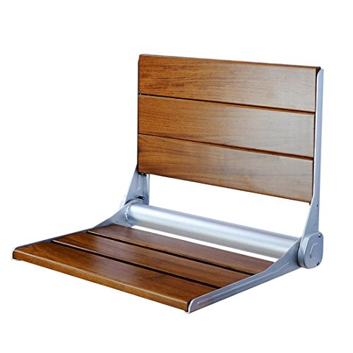 "18"" Serena Folding Shower Bench Back Rest Seat Modern Dark Teak Wood Bath"