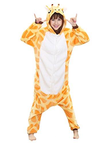 Adult Giraffe Onesie - Women Mens Kigurumi Onesies Plush Animal Costume Pajamas Samll (Cute Animal Costumes For Men)