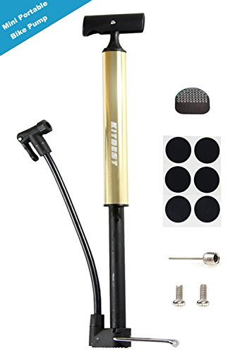 Kitbest Bike Pump, Aluminum Alloy Portable Bike Floor Pump, Mountain, Road, Hybrid & BMX Bike Tire Pump, Floor Bicycle Air Pump Compatible with Presta & Schrader Valve & Sports Ball (Golden)