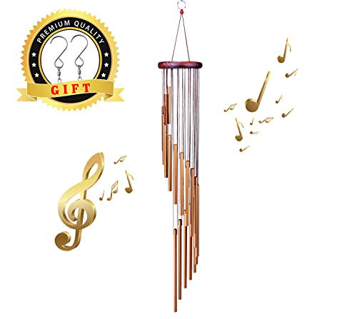 SuninYo Wind Chimes Outdoor,36'' Amazing Grace Wind Chimes with S Hook,a Quality Gift for Garden, Patio, Balcony and Indoor Decor(18 Tubes,Golden) by SuninYo