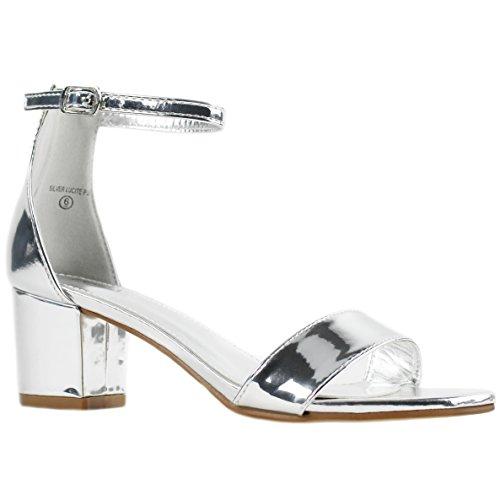320ec213b5f Women's Fashion Ankle Strap Kitten Heel Sandals - Adorable Cute Low Block  Heel - Jasmine (7, Silver)