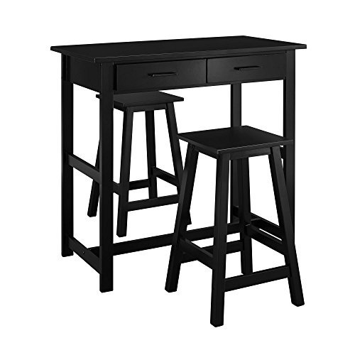 Dorel Living 3-Piece Pub Set, Black (Table Set Stools And Breakfast Bar)