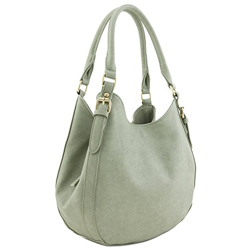 Light-weight 3 Compartment Faux Leather Medium Hobo Bag Grey