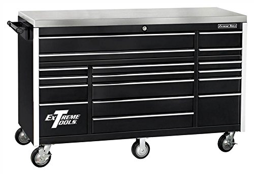 Extreme Tools EX7217RCBK 17-Drawer Triple Bank Roller Cabinet with Ball Bearing Slides, 72-Inch, Black High Gloss Powder Coat Finish ()