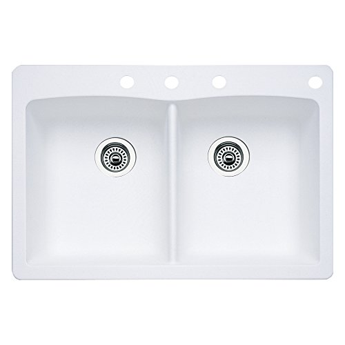(Blanco 440221-4 Diamond 4-Hole Double-Basin Drop-In or Undermount Granite Kitchen Sink, White)