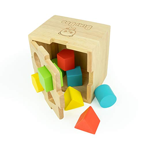 Bimi Boo Wooden Shape Sorter with Lid for Toddlers - Sorting Cube Classic Solid Wood Construction, 8 Geometric Shapes and 4 Bright Colors, Developmental Toy for Preschool Kids 2 and Up Year Olds