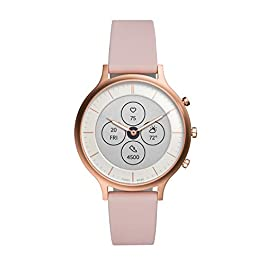 Fossil Women's 42MM Charter HR Heart Rate Stainless Steel and Silicone Hybrid HR Smart Watch, Color: Rose Gold, Pink…