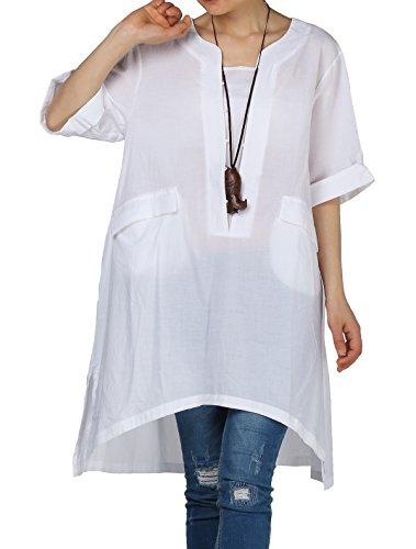 Chemise D't Longue Vogstyle Dconatracte Femmes Elgante Manches Courtes Robe Blanc Tunique 5xp0Tw06q