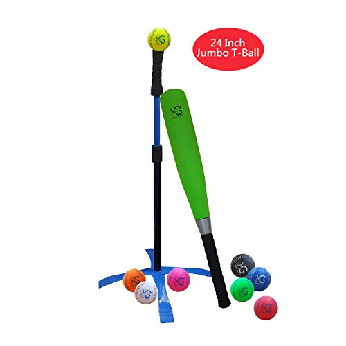 Macro Giant 24 Inch Jumbo T Ball, Tee Ball, T-Ball Set, 1 Green Jumbo Foam Bat, 8 Foam Baseballs, Assorted Colors, Training Practice, Youth Batting Trainer, School Playground, Kid ()