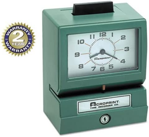 ACP011070411 Acroprint Model 125 Analog Manual Print Time Clock with Month//Date//0-12 Hours//Minutes