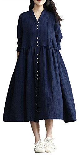 Lemosery Women's Retro Maxi Stand Collar V Neck Button Line Up Boho Linen Long Sleeves Bohemian Long Dress