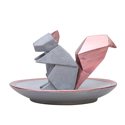 """Hoocozi Small Size Round Resin Home Decorative Tray with a Squirrel Shaped Ring Holder from, 1Pcs, Grey, 3.9"""""""