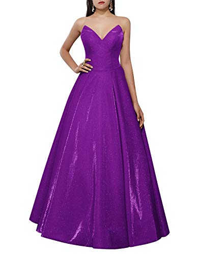 ALAGIRLS Women Strapless Sequined Long Prom Dresses Backless Princess Formal Evening Gowns Purple US26Plus