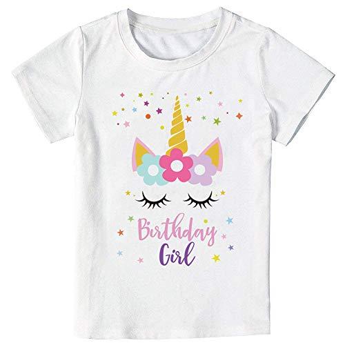 Unicorn Birthday Star T-Shirt, Unicorn Outfit Gifts for Girls (Star Unicorn, 5-6 -