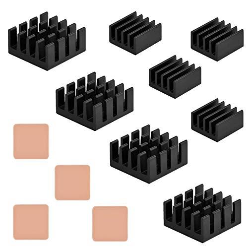 Angel Mall 12 pcs Raspberry Pi Heatsink Cooler Circuit Board Cooling Kit,Fin for Cooling Cooler Raspberry Pi 3, Pi 2, Pi Model B+, with 3M 8810 Heat Transfer Peel and Stick Tape (4 Sets (12pcs))