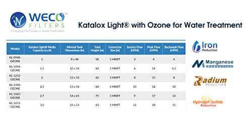 WECO Whole House Water Filter with Katalox Light & Ozone for Iron, Manganese & Hydrogen Sulfide Reduction (KL-1465-OZONE)