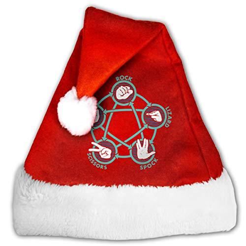Festival Red & White Christmas Santa Beanie with Rock Paper Scissors Lizard Spock Printing,SantaParty ()