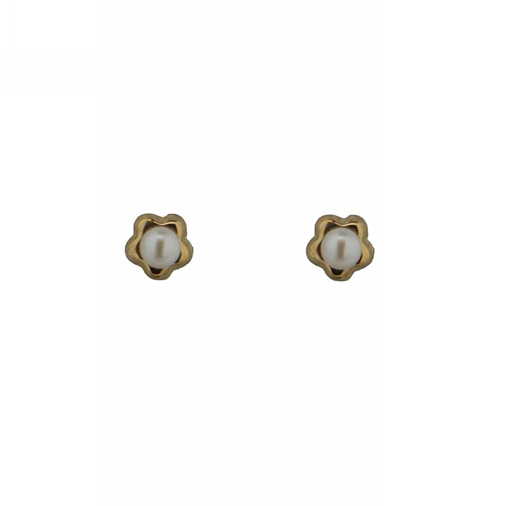 18K Yellow Gold Small Star with Cultivated Pearl Earrings with covered screwbacks 3mm // 2mm Cultivated Pearl