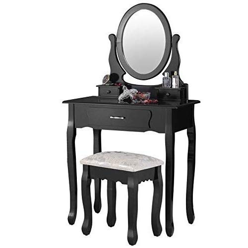 (Mecor Vanity Table Set with Oval Mirror/ 3 Drawers,Wood Makeup Dressing Table w/Cushioned Stool (Black))