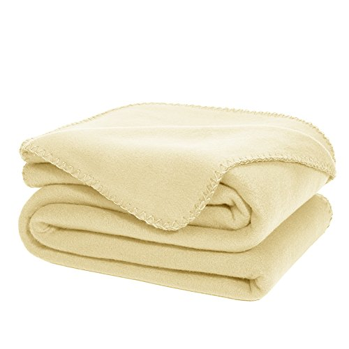 Microfleece Throw (Super Soft Oversized Fleece Throw Blanket BEIGE Ultra Cozy Throw Light Weight Cozy Microfiber Solid Blanket Couch / Sofa / Bedding / Travel / Camping Throw Blanket 50 x 70 Inch)