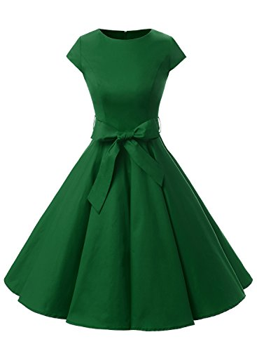 Dressystar Vintage 1950s Polka Dot and Solid Color Prom Dresses Cap-Sleeve L Army Green