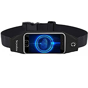 Se7enline iPhone 7 Workout Belt works for Touch ID Fingerprint Running Belt Fanny Pack Waist Pack Money Flip Belt Pouch with Headphone Jack and Reflective Strip for Women Men Fitness Hiking Black