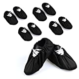 5 Pairs Non Slip Washable Reusable Shoe Covers Cotton and Polyester For Household Thickened Boot Covers, Black