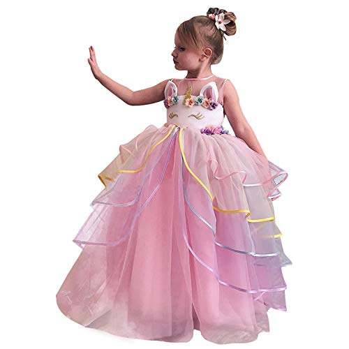 TTYAOVO Flower Girls Unicorn Costume Dress Girl Princess Pageant Ball Gowns 4-5 Years -