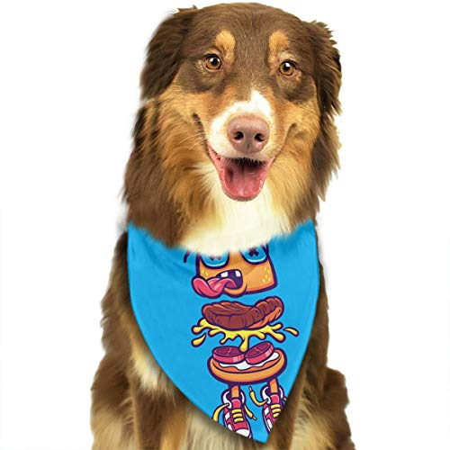 OURFASHION Funny Hamburger Bandana Triangle Bibs Scarfs Accessories for Pet Cats and Puppies.Size is About 27.6x11.8 Inches -