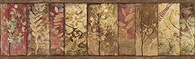 Chesapeake TLL01552B Lillinonah Foliage Wallpaper Border, Brown
