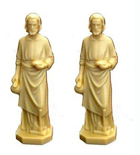 (2 X St Joseph Statue Home Seller Faith Saint House 3.5 Inch Figurine NEW)