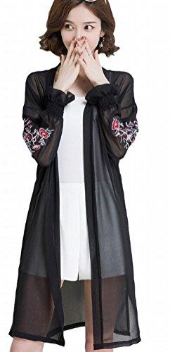 [ディアアンナ] 春夏 シフォン ロング カーディガン 袖 花柄 刺繍 スモークピンク ブラック ホワイト